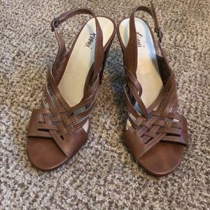 Brown strapped high heels